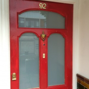 White Laminated Safety Glass in front door