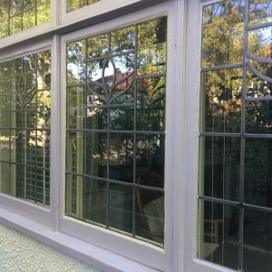 Traditional leaded glass.