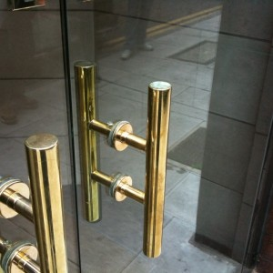 Brass Handles fitted in Glass