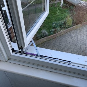 Fire Escape Hinges Fitted to PVC Frame