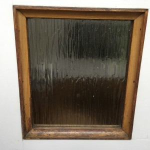 Glass pane before cat-flap is fitted
