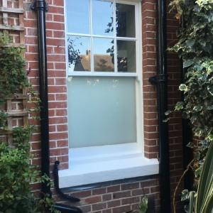 White Laminated Glass in Sash