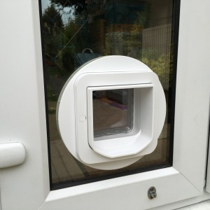 Microchip cat-flap fitted in PVC French doors