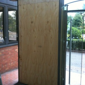 Glass door panel boarded SW19