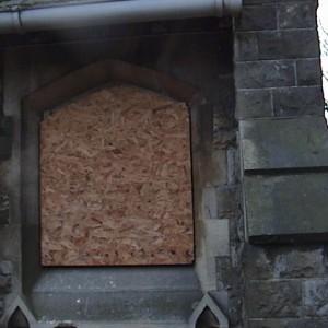 Church window boarded