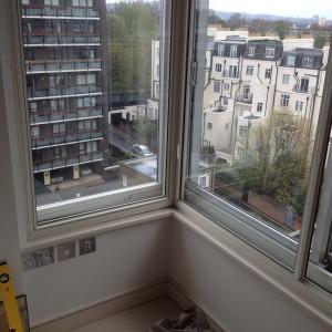 Cream coloured secondary glazing frames