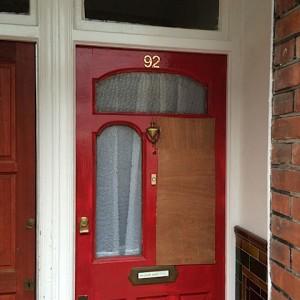 Broken glass in front door
