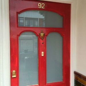 White laminated glass fitted in front door