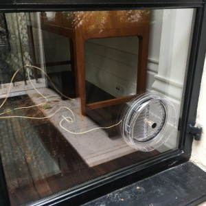 Gas vent fitted in double-glazed unit.